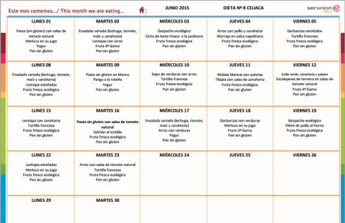 Menú Junio Celiacos 2015