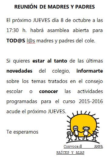 REUNIÓN DE MADRES Y PADRES OCTBRE 2015