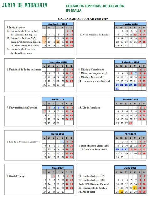 calendario-escolar-sevilla-curso-2018-2019